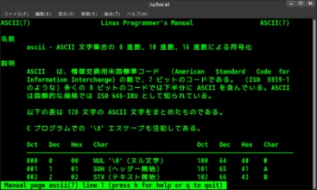 manコマンドによる「ASCII ⇔ 8進数、10進数、16進数の変換表」